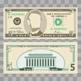 Billetes de banco del dólar, nosotros cuentas de dinero de la moneda stock de ilustración