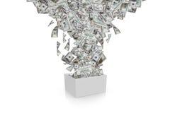 Billetes de banco del dólar que fluyen en la caja blanca Fotografía de archivo