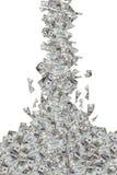 Billetes de banco del dólar que vuelan y que caen abajo Imágenes de archivo libres de regalías