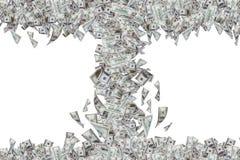 Billetes de banco del dólar que vuelan y que caen abajo en tornado Foto de archivo
