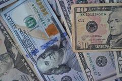 Billetes de banco del dinero del dólar Dinero en circulación americano Antecedentes del dinero Dólar de Estados Unidos Fotografía de archivo