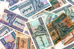 Billetes de banco del dinero de Myanmar (Birmania), viejos y nuevos del kyat Fotos de archivo