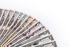 Billetes de banco del dinero de los E.E.U.U. en el fondo blanco Foto de archivo