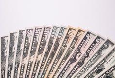 Billetes de banco del dinero de los E.E.U.U. en el fondo blanco Fotografía de archivo libre de regalías