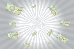 Billetes de banco del dinero que vuelan el fondo del vector Foto de archivo