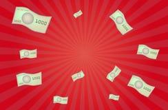 Billetes de banco del dinero que vuelan vector en fondo rojo Fotos de archivo libres de regalías