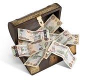 Billetes de banco del dirham de los UAE en un trunk_1 Imágenes de archivo libres de regalías