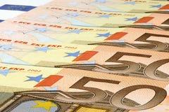 Billetes de banco del euro cincuenta. Foto de archivo libre de regalías