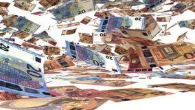 Billetes de banco del euro 10, 20 y 50 que cae abajo