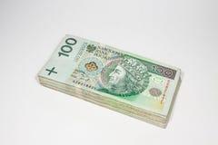 100 billetes de banco del zloty - moneda polaca Imágenes de archivo libres de regalías