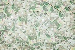 100 billetes de banco del zloty - moneda polaca Fotografía de archivo
