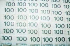 100 billetes de banco del zloty - moneda polaca Imagen de archivo libre de regalías