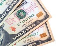 Billetes de banco de diez d?lares americanos en el fondo blanco
