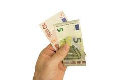 Billetes de banco a disposición Fotos de archivo