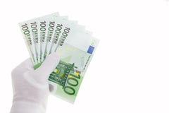 Billetes de banco en cientos euros Imagen de archivo