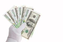 Billetes de banco en cientos euros y cientos dólares Fotos de archivo libres de regalías