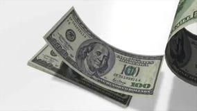 Billetes de banco de $ 100 en la cámara lenta ilustración del vector