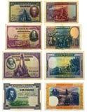 Billetes de banco españoles viejos Imagenes de archivo