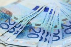 20 billetes de banco euro Fotos de archivo