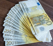 200 billetes de banco euro Imágenes de archivo libres de regalías