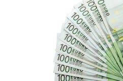 100 billetes de banco euro aislados Imagen de archivo libre de regalías