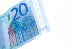 20 billetes de banco euro aislados Fotografía de archivo libre de regalías
