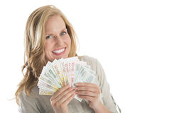 Billetes de banco euro avivados tenencia de la mujer contra el fondo blanco Imagen de archivo libre de regalías