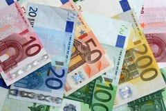 Billetes de banco euro coloridos, primer Foto de archivo libre de regalías