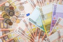 Billetes de banco euro como fondo Fotos de archivo