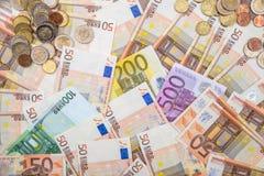 Billetes de banco euro como fondo Imágenes de archivo libres de regalías
