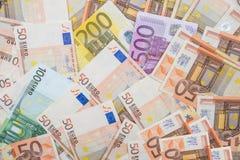 Billetes de banco euro como fondo Foto de archivo