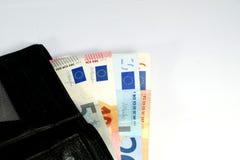 Billetes de banco euro con la cartera Fotografía de archivo