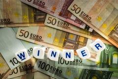 Euro con el ganador de la palabra Fotografía de archivo libre de regalías
