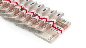 Billetes de banco euro de 50 en pilas Foto de archivo libre de regalías