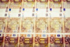 Billetes de banco euro de lado a lado Imagen de archivo