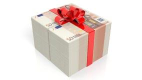 Billetes de banco euro de 50 pilas con la cinta roja Imagenes de archivo