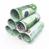 100 billetes de banco euro del balanceo Foto de archivo libre de regalías