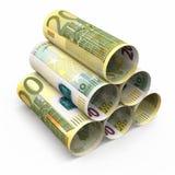 200 billetes de banco euro del balanceo Imagen de archivo libre de regalías