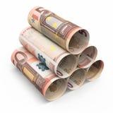 50 billetes de banco euro del balanceo Fotografía de archivo