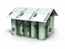 100 billetes de banco euro del balanceo Imagen de archivo