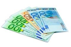 Billetes de banco euro del dinero aislados Fotos de archivo libres de regalías