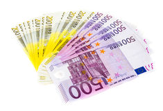 Billetes de banco euro del dinero aislados en el fondo blanco Foto de archivo