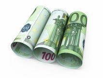 100 billetes de banco euro del rollo Imágenes de archivo libres de regalías