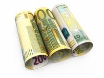 200 billetes de banco euro del rollo Imagen de archivo