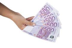 Billetes de banco euro a disposición aislados en blanco Imágenes de archivo libres de regalías
