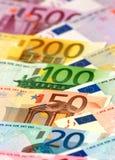 Billetes de banco euro dispuestos Fotografía de archivo libre de regalías