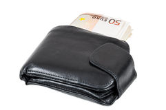 Billetes de banco euro en cartera negra Foto de archivo libre de regalías