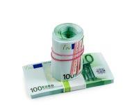 Billetes de banco euro en el aislante blanco Fotografía de archivo
