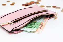 Billetes de banco euro en la cartera en el fondo blanco Imágenes de archivo libres de regalías