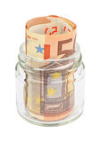 Billetes de banco euro en un tarro Imagenes de archivo